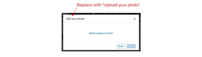 computer dialog window with a correction suggesting replacing Edit your photo to Upload your photo