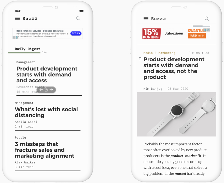 mockup iphones with buzzz editorial