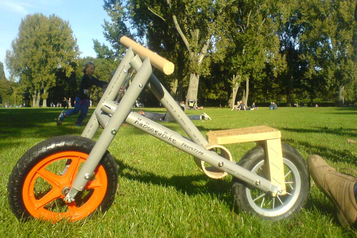prototype of a bike made of PVC tubes
