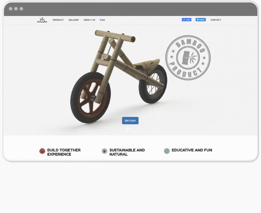 mockup browser window with website of the kaboogabike -bamboo bike for kids